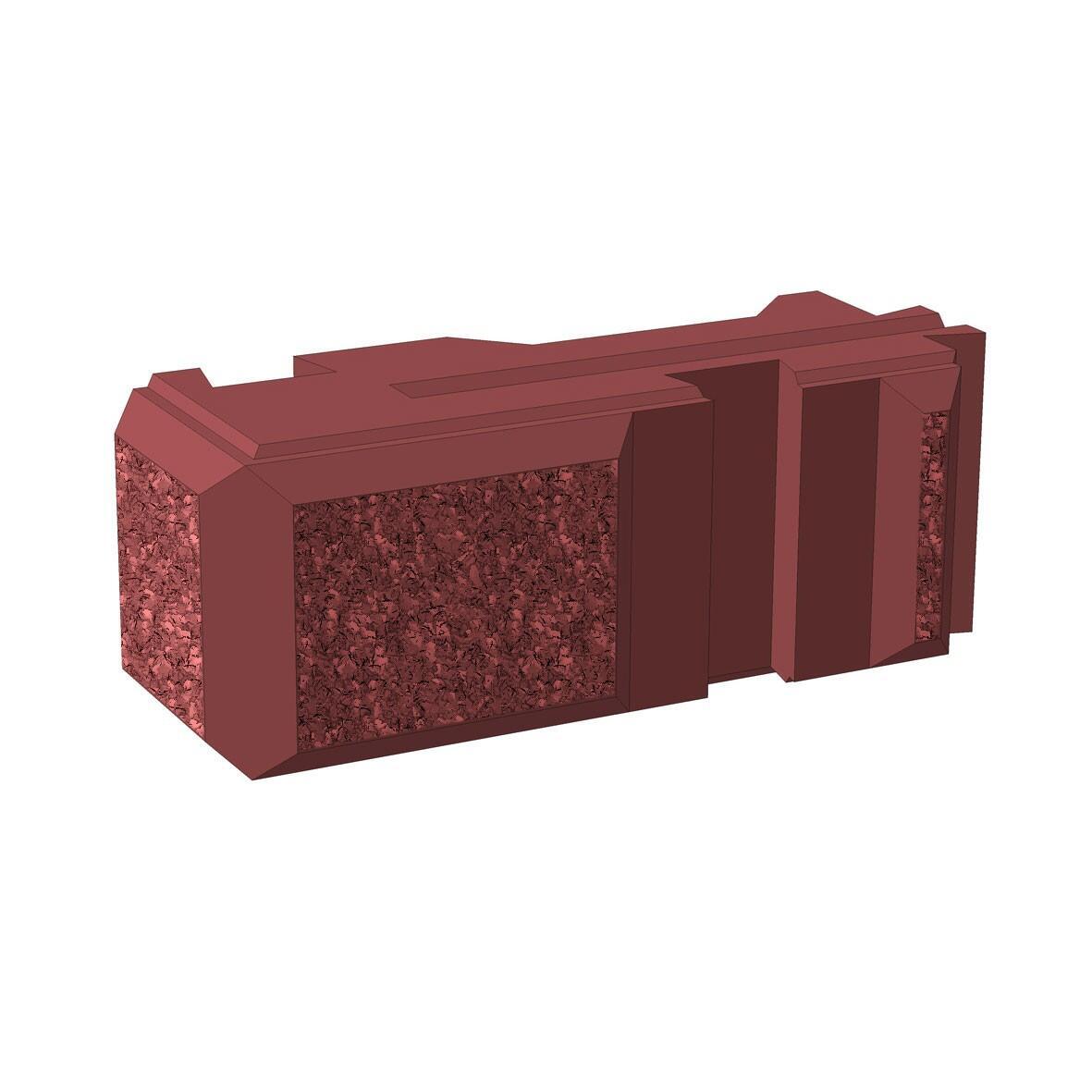 Блок бетонный угловой для забора Brick вид с переди